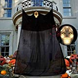 Halloween Hängende Geister,Halloween Deko Hängend Deko,Gespenst Geist Deko,Hängend Grim Reaper Dekoration,Halloween Hängend Deko,Hängendes Skelett,Hängen Fliegender Geist,mit LED-Licht und Ton 1.8*3M