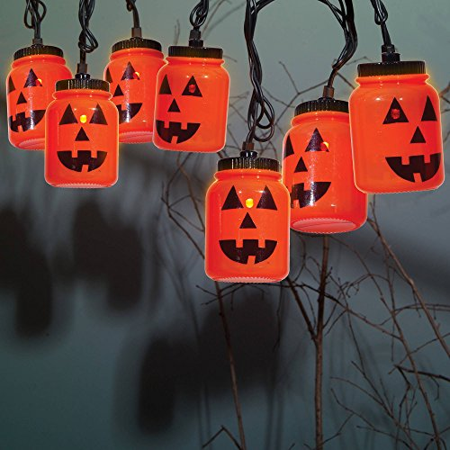 WM Halloween LED Mason Jar Light Set, Orange Jack O Lantern Pumpkin, 8 LED Lights