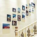 YSNUK Compuesto Madera Maciza Foto de la Pared Porche Europeo Marco de la Foto Conjunto de Pared Foto Escalera Creativa Colgante de Pared Marco combinación Decoración Sala de Estar, Escaleras