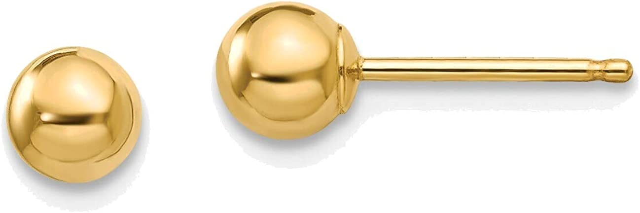 Madi K Polished 4mm Ball Post Earrings in 14K Yellow Gold