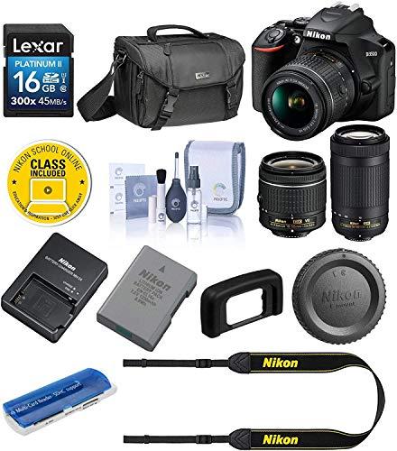 Nikon D3500 24MP DSLR Camera with AF-P DX NIKKOR 18-55mm f/3.5-5.6G VR Lens and AF-P DX NIKKOR 70-300mm f/4.5-6.3G ED Lens - Bundle with Camera Case, 16GB SDHC Card, Cleaning Kit, Card Reader