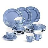 Sunting Kaffeeservice für 6 Personen. 18 tlg Porzellan Kaffeeservice Blau. Vintage Stil Geprägt...