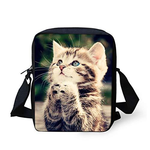 HUGS IDEA Cute Cat Pattern Mini Crossbody Bag for Teen Girls Small Shoulder Handbag Clutch Purse Satchel Kids Schoolbag