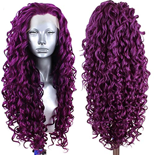 Ebingoo Fashion Purple Lace Front Wig 26 inch Long Curly Wavy Synthetic Lace Party Wigs Heat Resistant Fiber for cosplay for Any occasion for cosplay