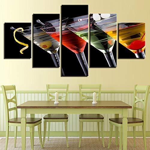 ZSYNB muurschildering op canvas, wanddecoratie, modulair wandbeeld, 5 panelen van wijnglas, bedrukt, moderne afbeelding op canvas.