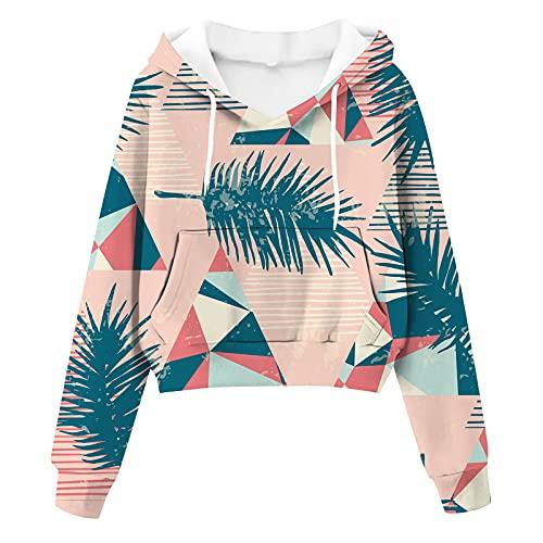 Wirziis Hoodies Sweatshirts for Women Long Sleeve Drawstring Crop Blouses Cute Graphic Pockets Vintage Pullover