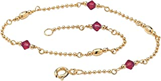 14K Yellow Gold Over Sterling Silver Simulated Birthstone Ankle Bracelet (2mm), 11 inches