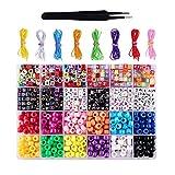 harayaa 360pcs Pony Beads Seed Beads + 6mm 600x Alphabet Beads para Accesorios de Bricolaje
