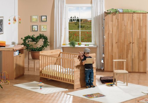 Herlag H1969-000 Kinderzimmer Leon Buche teilmassiv, lackiert, Kinderbett inclusiv Umbauseiten, Wickelkommode, Kleiderschrank 3-türig