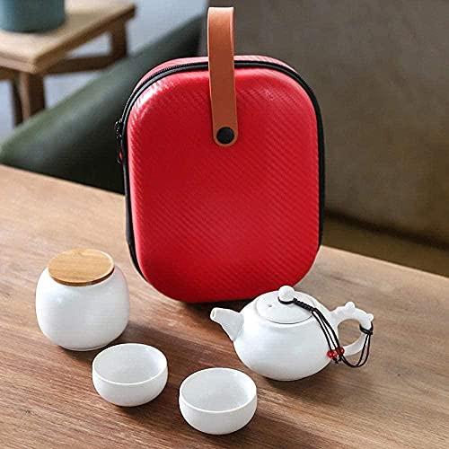 Juego de té de té Dingyao Teacup una olla dos tazas portátil de viaje té conjunto actividades de negocios -una olla y dos tazas-grifo olla porcelana blanca