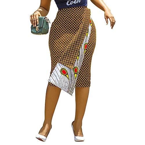 VERWIN Knee-Length Bodycon Polka Dots Print Office Lady Women's Skirt Irregular Pencil Skirt L