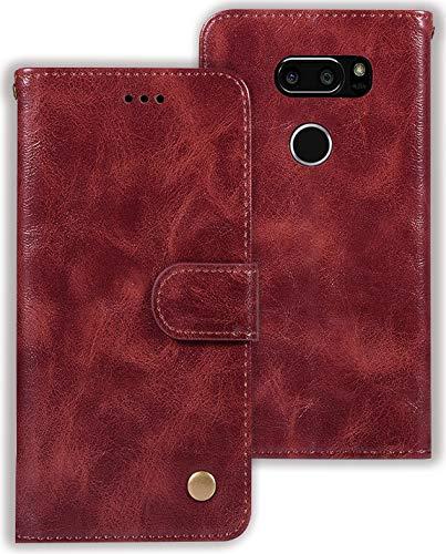 Zoeirc Schutzhülle für LG V30, LG V30s, LG V30 Plus, LG V35, LG V35 ThinQ 2017 Release, PU-Leder, Brieftaschen-Schutzhülle mit Kartenfächern, Weinrot