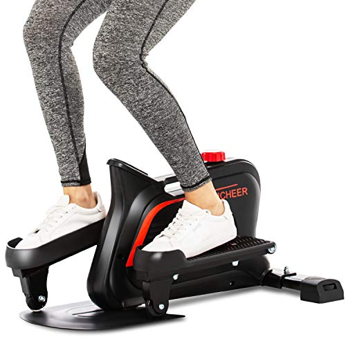 ANCHEER Elliptical Machines, Ellipticals Under Desk Bikes Trainer with Built-in Display Monitor & Unlimited Resistance & Smooth Quiet Belt Drive, Mini Strider for Home Office Use
