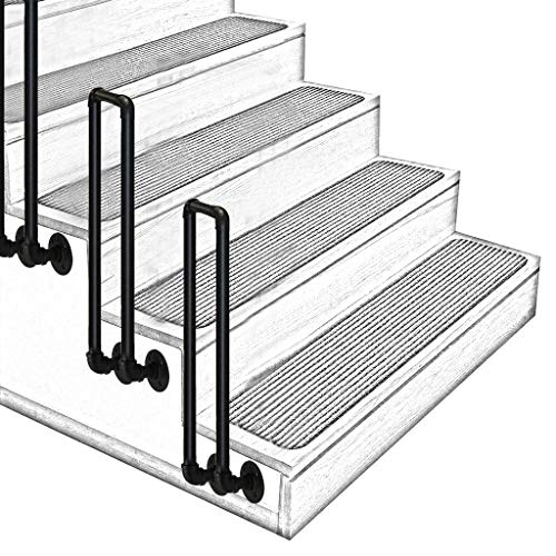 ZzJj Staircase Handrail-Complete Kit, Wrought Iron + Galvanized Pipe Material, U-Shaped Transition Handrail, Easy to Install, for Indoor and Outdoor Steps