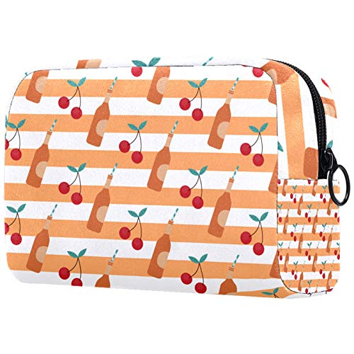 Neceser de Maquillaje Estuche Escolar para Cosméticos Bolsa de Aseo Grande Naranja Cereza & Vino Patrón-01