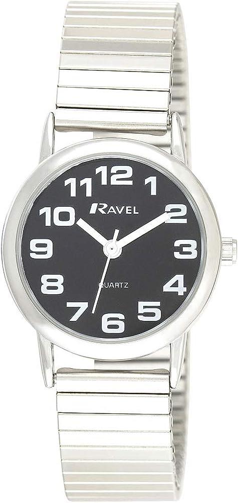Ravel - Reloj de Pulsera Unisex de Acero Inoxidable con números Grandes y manecillas audaces