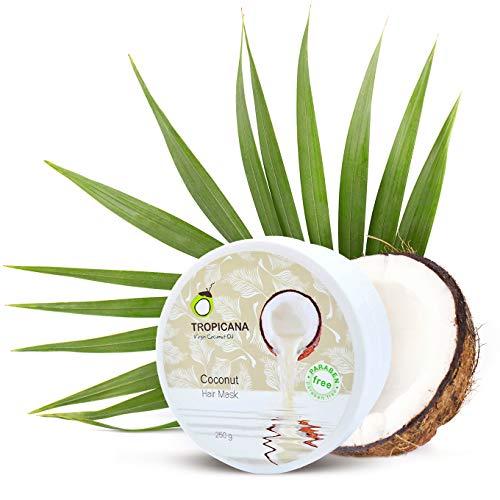 Tropicana Oil Natürliche Kokos Haarmaske 250g   mit kaltgepresstem Kokosöl, Arganöl&Litsea Glutinosa Extrakt   Haar Feuchtigkeitspflege   Repariert beschädigtes...
