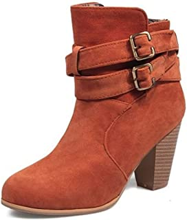LaBiTi Women's Shoe Faux Suede Stacked High Chunky Heel Ankle Boots