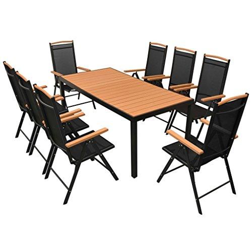 vidaXL Gartenmöbel 9-TLG. mit Klappstühlen Sitzgruppe Gartengarnitur Gartenset Sitzgarnitur Tisch Stühle Esstisch Gartentisch Aluminium Schwarz