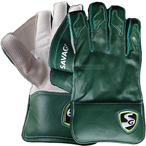 SG Savage Wicket Keeping Gloves   Made from The Finest Genuine Leather and has All-Leather Palm Cuffs and Back