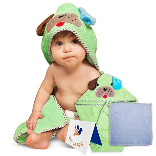 Adorable Soft Cotton Puppy Hooded Baby Towel [Green], Large Sized:30X30 Inch | Soft Washcloth |...