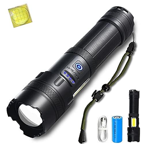 ASORT 【Die neuesten P160】 Helius led Taschenlampe extrem hell,Super Helle 10000 Lumen Taschenlampen,USB aufladbar Tactical zoombar Flashlight für Camping,wandern,Outdoor Fackel(Schwarz)