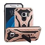 Funda Samsung Galaxy S7 Oro Rosa - MUTOUREN 2 en 1 PU+ PC Híbrido Resistente a Prueba Golpes Kickstand Robusto Defender Cover Case para Samsung Galaxy S7