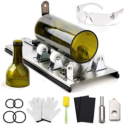 DoreenBow Glass Bottle Cutter - Wine Bottle Cutting Tool Kit with Gloves, Sanding Paper and Metal Cutter for Bottle DIY Art Wine Beer Whiskey Alcohol Champagne Bottles