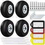 Yotako - Juego de 4 ruedas de repuesto para maleta de equipaje, 40 mm, kit de reparación de rodamientos y 4 etiquetas de equipaje multicolor para maleta