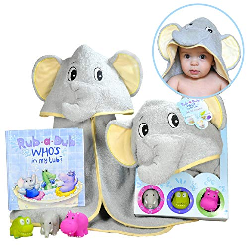Baby Gift Set- Rub A Dub, Who's in My Tub - 5 Piece Bath Set Includes Elephant Hooded Towel, 3 Jungle Safari Squirt Toys, and Book. Adorable for Boys and Girls!