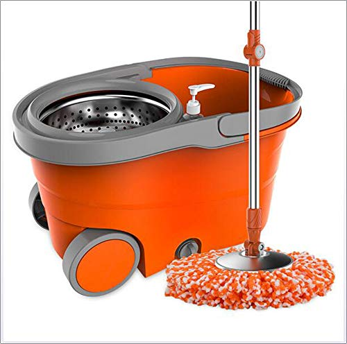SHOWGG - Sistema de Limpieza de Suelos (Easy Wring, con Cabezales giratorios de 360°, Ruedas giratorias, Mango de Acero Inoxidable, fregona para cocinas de baño)