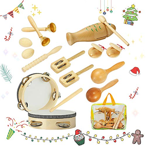 Wooden Kids Musical Instruments, 16 Types Natural Wooden Percussion Instruments Tambourine Xylophone Toys for Kids Children, Preschool Education Early Learning Musical Toy, Gift for Music Learner