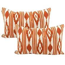 TRESMESTRES Fundas de Cojines 60x40 - Decoración Ikat - Decorativos para Sofá, Almohadas/Almohadones para Cama - Diseño Mediterráneo - Funda Cojín 40x60 cm, 2 Pack, Naranjas