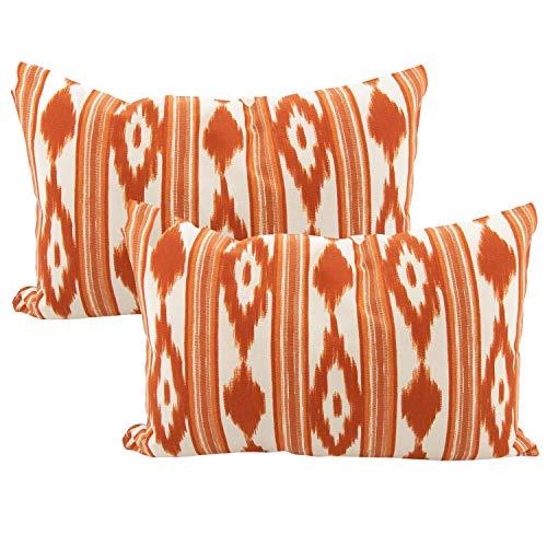 TRESMESTRES Fundas de Cojines 30x50 - Decoración Ikat - Decorativos para Sofá o Almohadas/Almohadones para Cama - Diseño Mediterráneo - Funda Cojín 30 x 50 cm 2 Pack, Naranjas