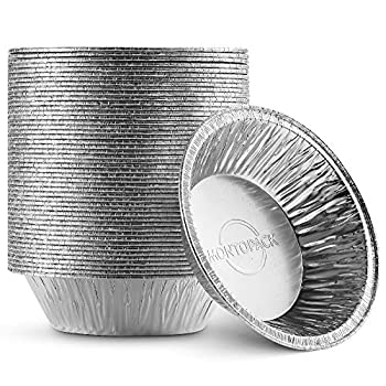 MontoPack Disposable 5  Aluminum Foil Pie/Tart Pan  50 Pack  | 5 Inch Round Cake Pan for Baking Personal Mini Pies Homemade Cakes & Quiche | Oven Safe Foil Tins Easily Stack & Store Freeze & Reheat