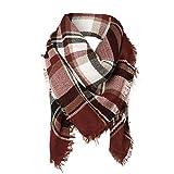Surblue Warm Stylish Elegant British Style Color Blocking Plaid Shawl Scarf Blanket, Burgundy