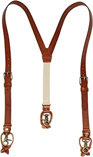 1 Inch Men's Suspenders 3 In 1, Leather Genuine Suspenders, Elastic Strap with Clips, Buttons, Snap Hooks