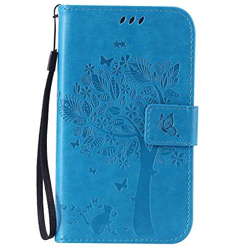 Guran® Funda de Cuero para Samsung Galaxy Grand Neo Plus/Grand Neo (i9060) Smartphone Función de Soporte con Ranura para Tarjetas Flip Case Cover-Azul