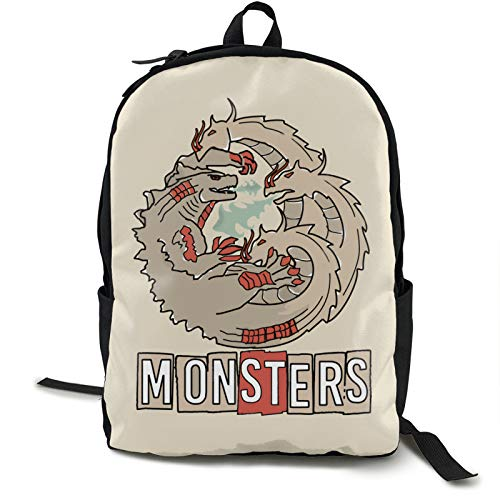 Godzilla Fighting The Three Headed Ghidorah Monsters 16.5 pulgadas con doble compartimento para estudiantes, mochila escolar adecuada para niños y niñas, escuela, universidad, viajes al aire libre