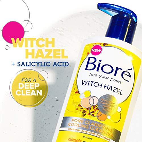 Bioré Witch Hazel Pore Clarifying Acne Face Wash, 6.77 Ounce, Exfoliating Facial Cleanser, 2% Salicylic Acid Acne Treatment for Acne Prone, Oily Skin