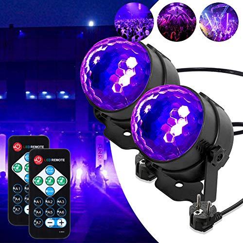 Lunsy - Luz negra LED UV con efectos de luz, bola de discoteca, iluminación de fiesta, con mando a distancia y control de sonido, 3 W, luz de escenario para Halloween, decoración, Navidad