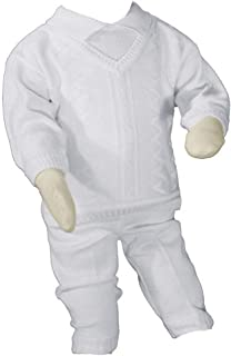 Little Things Mean A Lot Boys 100% Cotton Knit Two Piece White Christening Baptism Outfit