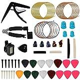 KEESIN Kit de 62 accesorios para guitarra que incluye púas, cejilla, afinador, cuerdas de guitarra acústica, bobinador de cuerda 3 en 1, pasadores de puente, sillín de puente de hueso y tuerca