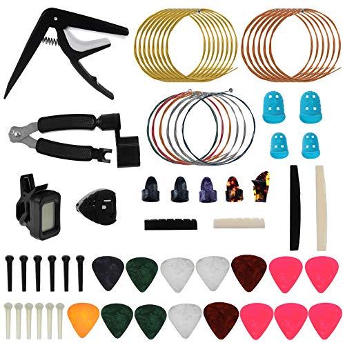 Keesin, set di 62 accessori per chitarra, tra cui plettri, capotastro, accordatore, corde per chitarra acustica, avvolgitore 3 in 1, perni per ponte, sella e dado, plettri per dita