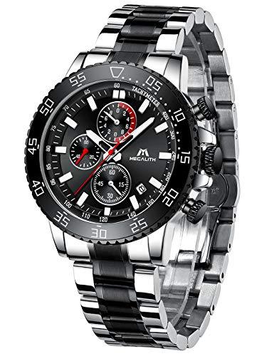 MEGALITH Herrenuhr Schwarz Chronographen Herren Armbanduhr Edelstahl Groß Uhren fur Männer Wasserdicht Analog Uhr Datum Leuchtend