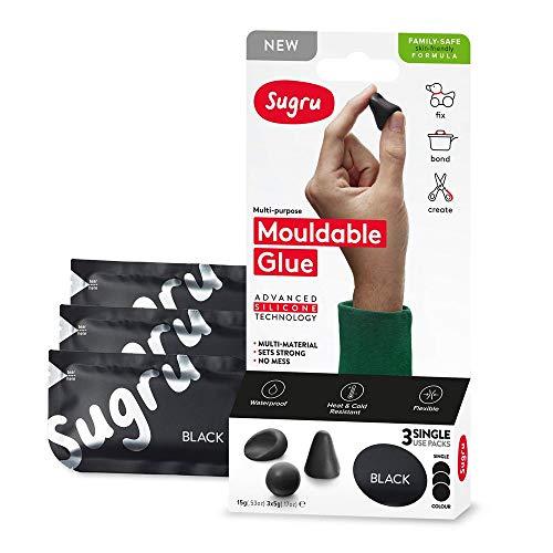 Sugru Family-Safe Formula Colla modellabile: retail 3-pack (Nero) / retail-packaged