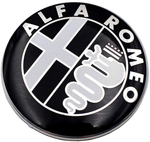 2 Fregi Stemma Alfa Romeo Nero Logo 74mm Cofano Anteriore Posteriore Emblema Black 147 156 159 Brera Mito METALLO