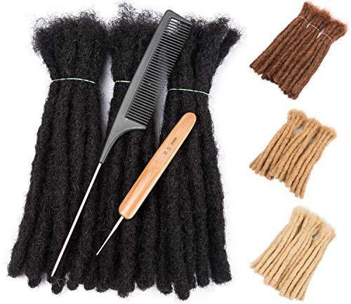30 Strands 100% Real Human Hair Dreadlock Extensions for Man/Women Full Head Handmade 0.8cm Crochet Braids Dreadlocks Bulk with Needle and Comb (8 inch, Natural Black Color)