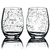 Greenline Goods Pisces Stemless Wine Glasses | Zodiac Pisces Set | Hand Etched 15 oz (Set of 2) - Astrology Sign Glassware