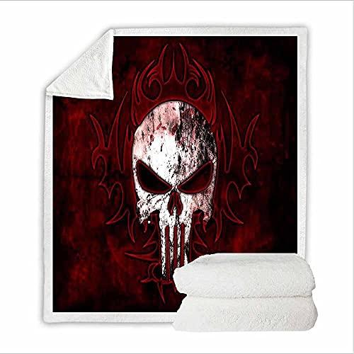 Manta de Tiro de Cráneo 130x150cm Mullida Transpirable Manta de Sherpa para Niños Adultos 3D Impresa Manta de Microfibra Franela Extra Suave para Sala de Estar/Dormitorio/Sofá Cama